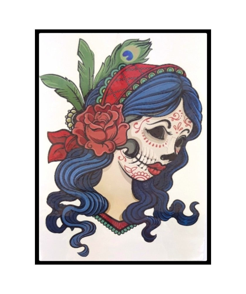 "Tattoo  "" Santa muerte Blue Hair """