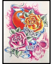 "Tattoo  "" Rose et Rose Orangé"""
