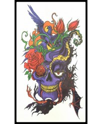 "Tattoo  "" Purple Skull """