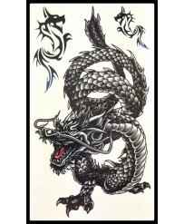 Tattoo Dragon Serpent noir