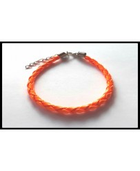 Bracelet Simili-Cuir Tressé Orange Fluo