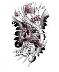 "Tattoo ""  CARP & FLOWERS """