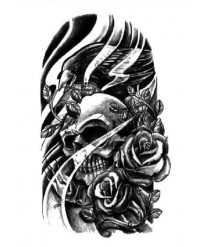 "Tattoo "" SKULL & CROW"""