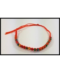 Perles Bois Multi-couleur / Fil Orange Vif