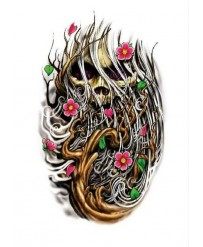 "Tattoo "" FLOWERS & SKULL """