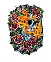 "Tattoo "" SKULL ON FIRE """