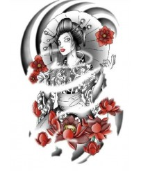 "Tattoo "" Geisha & Flowers """