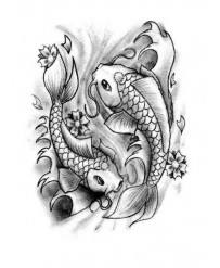 "Tattoo "" DUO DE CARPES n°2 """