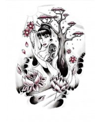 "Tattoo "" Geisha & LOTUS"""